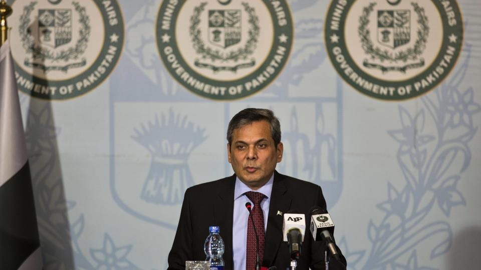 Pakistan foreign ministry spokesman Nafees Zakaria speaks during a weekly briefing in Islamabad, Pakistan.