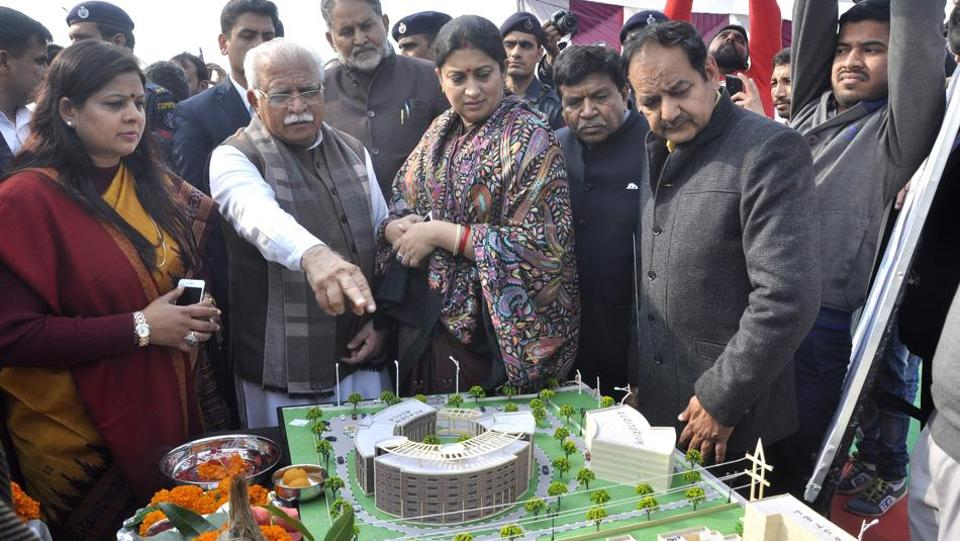 Haryana chief minister Manohar Lal Khattar and Union minister Smriti Irani during the foundation stone-laying ceremony in Panchkula on Thursday.