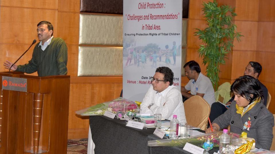 Ravi Jain speaking at the realease of a study on Nata Pratha in southern Rajasthan in Jaipur on friday.