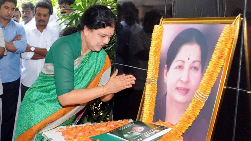 Sasikala pays tribute to late J Jayalalithaa after being appointed as AIADMK General Secretary in Chennai on Thursday.