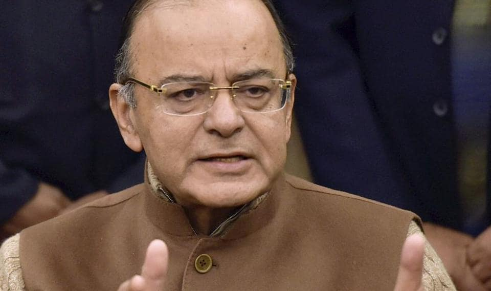 Union finance minister Arun Jaitley addressing a press conference in New Delhi on Friday.