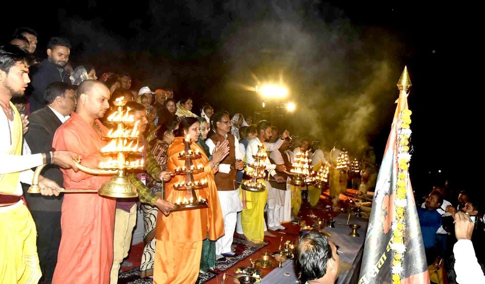 CMShivraj Singh Chouhan performs 'aarti' of Ma Narmada in Mandla district.