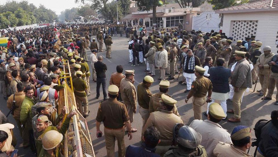 Security forces deployed near the residence of Uttar Pradesh CMAkhilesh Yadav, in Lucknow on Saturday.