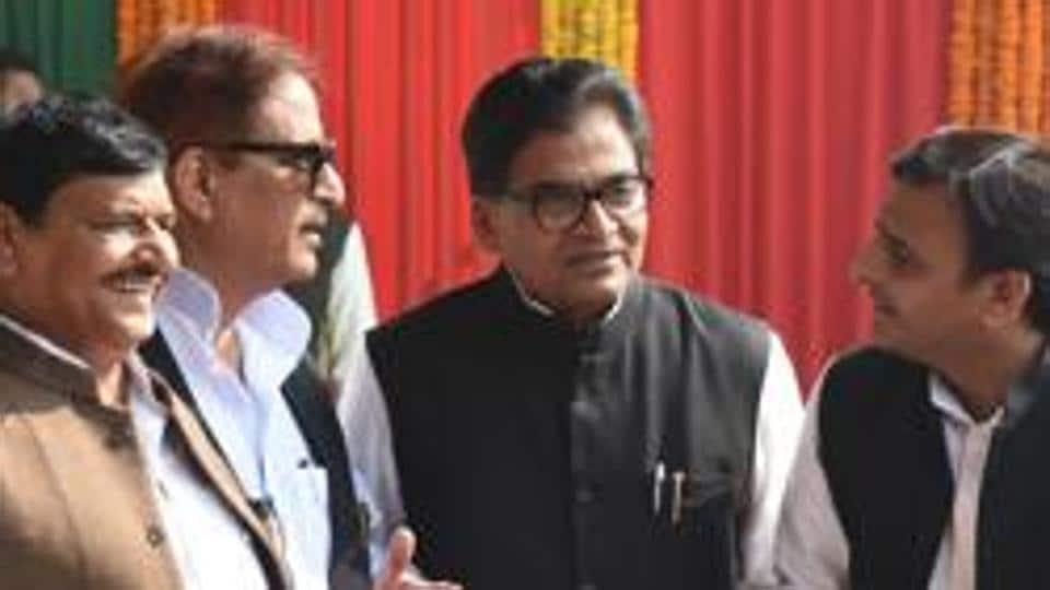 Uttar Pradesh CMAkhilesh Yadav (extreme right) with his uncles Ramgopal Yadav (centre) and Shivpal Yadav (left).