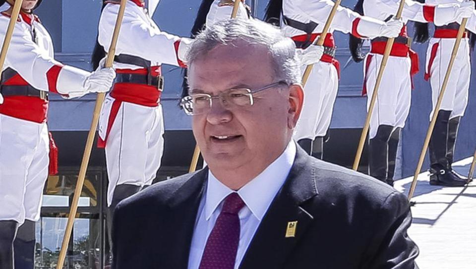 Brazil's presidential press office shows Greece's ambassador to Brazil, Kyriakos Amiridis, after a government ceremony in Brasilia, Brazil.