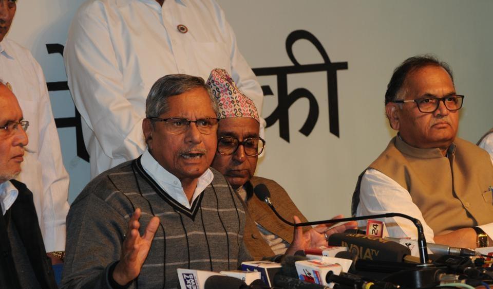Congress leader Mohan Prakash addresses press conference in Bhopal on Friday
