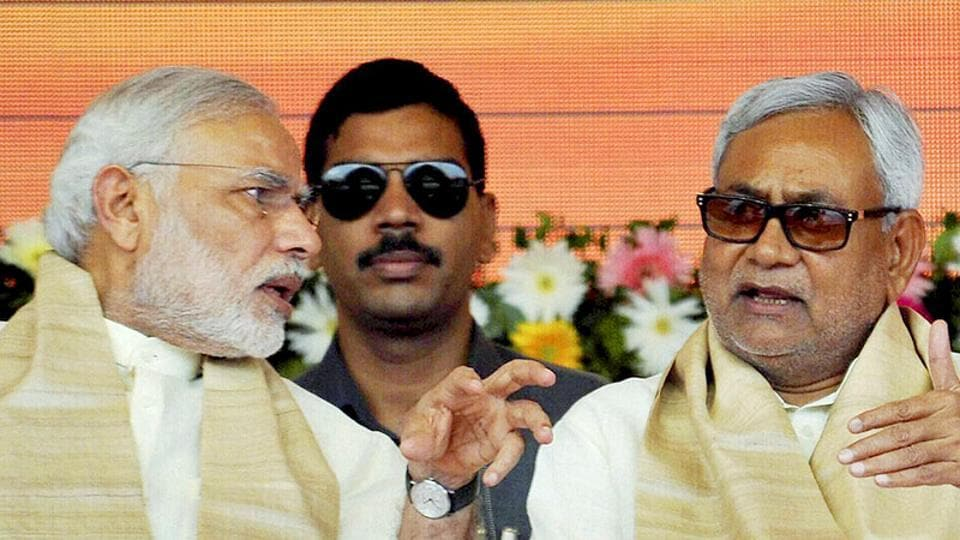 Prime Minister Narendra Modi with Bihar chief minister Nitish Kumar