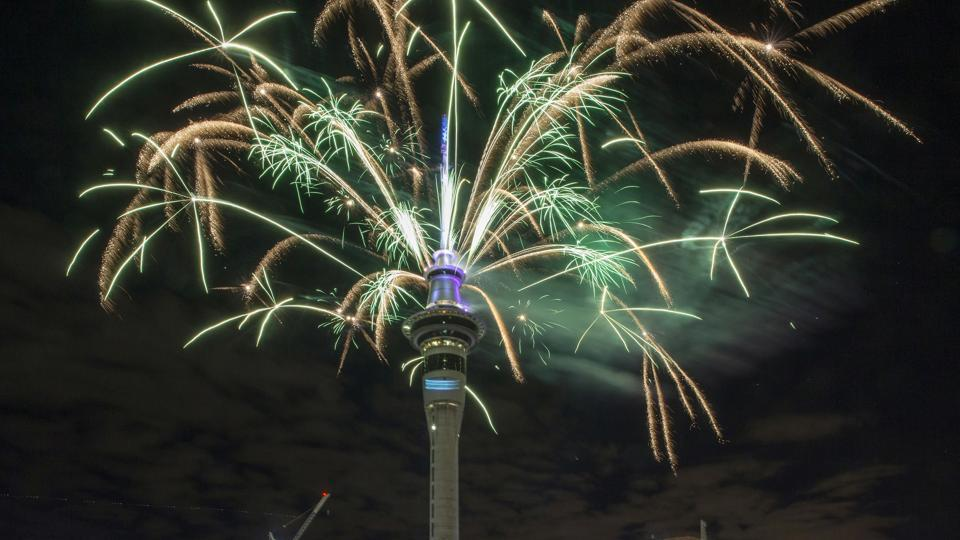 Here comes 2017! Fireworks explode off Auckland's Sky Tower as New Zealand enters the new year first. It's Jan 1, 2017. (AP)