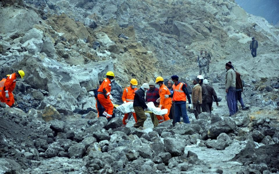 National Disaster Response Force personnel rescue operation in Godda district of Jharkhand, December 31