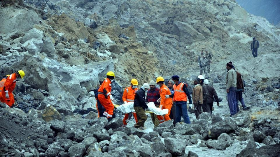 National Disaster Response Force (NDRF) personnel conduct rescue operations after a coal mine collapse in Godda district of Jharkhand, on Saturday.