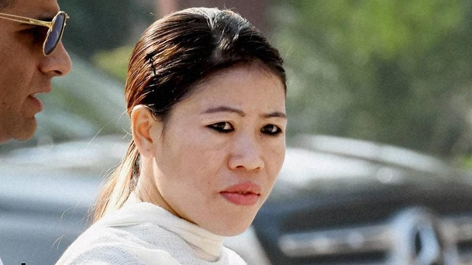 Rajya Sabha MP and boxer MC Mary Kom at Parliament House during the winter session, in New Delhi.