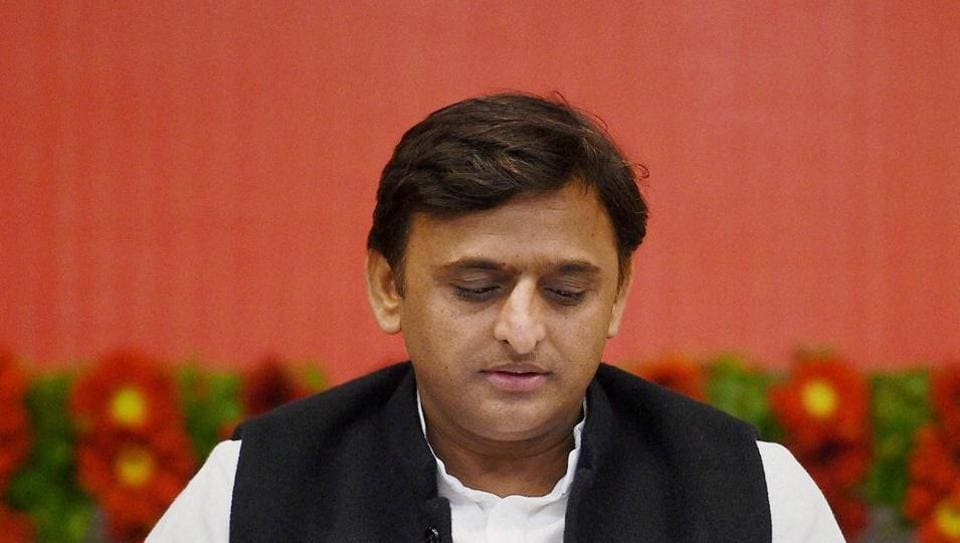 Uttar Pradesh chief minister Akhilesh Yadav at a public event in Lucknow on Friday.