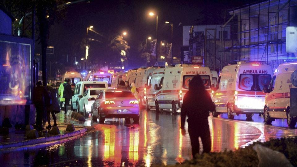 Medics and security officials work at the scene after an attack at a popular nightclub in Istanbul, on January 1, 2017.