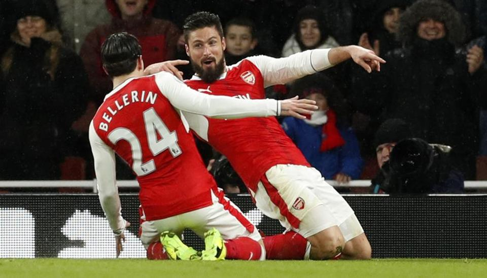 Arsenal FC's Olivier Giroud celebrates scoring their first goal against Crystal Palace FC.