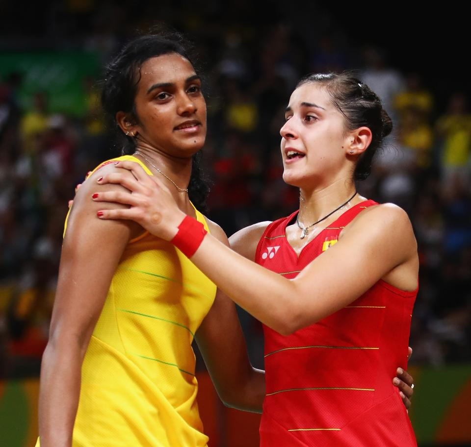 Carolina Marin has said both PVSindhu and Saina Nehwal play competitive badminton and that she has to be at her best all the time to beat her.