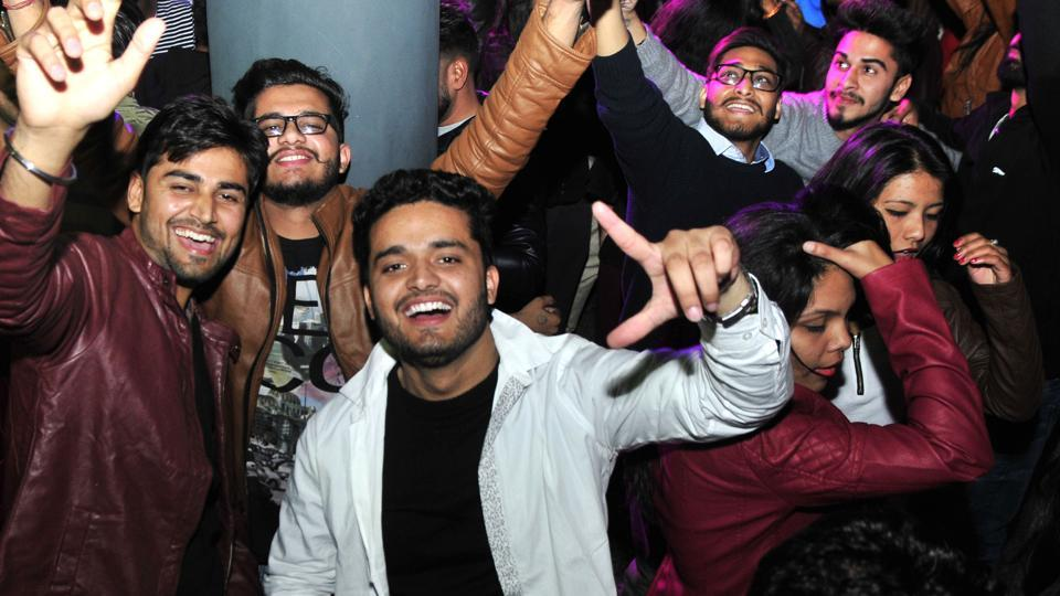 Youngsters at a discotheque in Sector 17, Chandigarh, on Saturday.