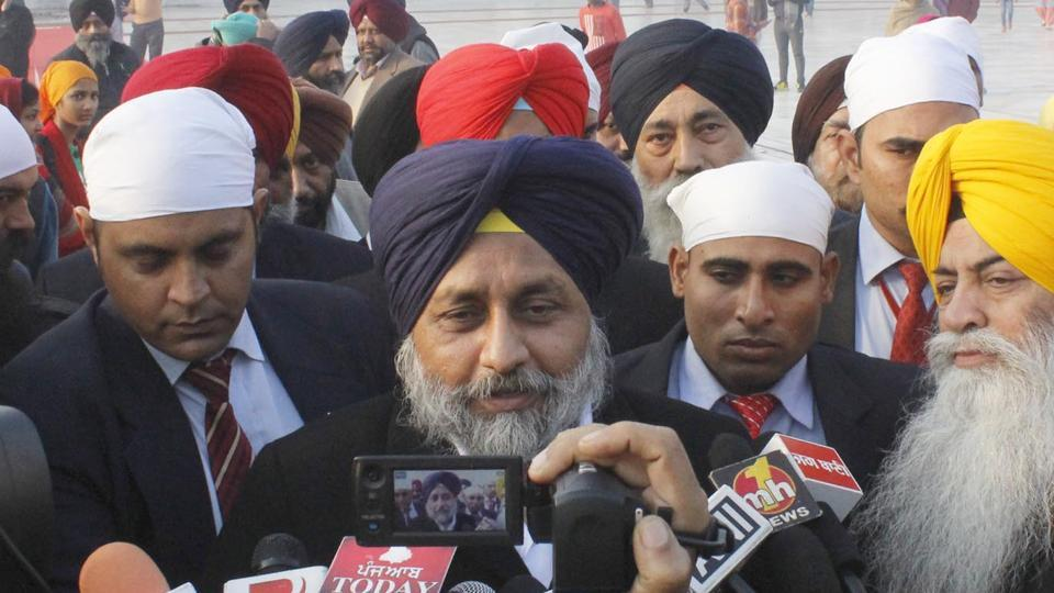 Punjab deputy chief minister Sukhbir Singh Badal addressing the media after paying obeisance at the Golden Temple in Amritsar on Saturday.