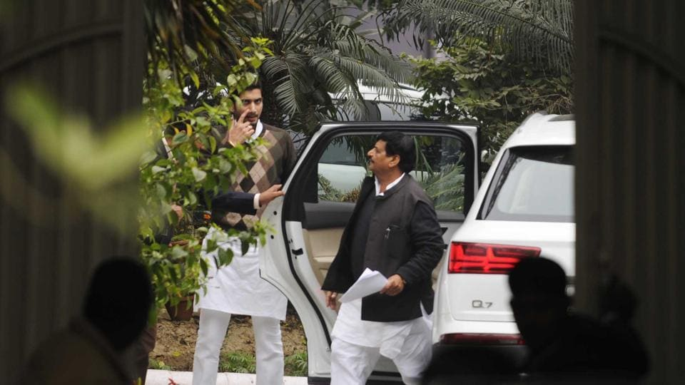 Shivpal outside Mulayam Singh's residence in Lucknow on Sunday.