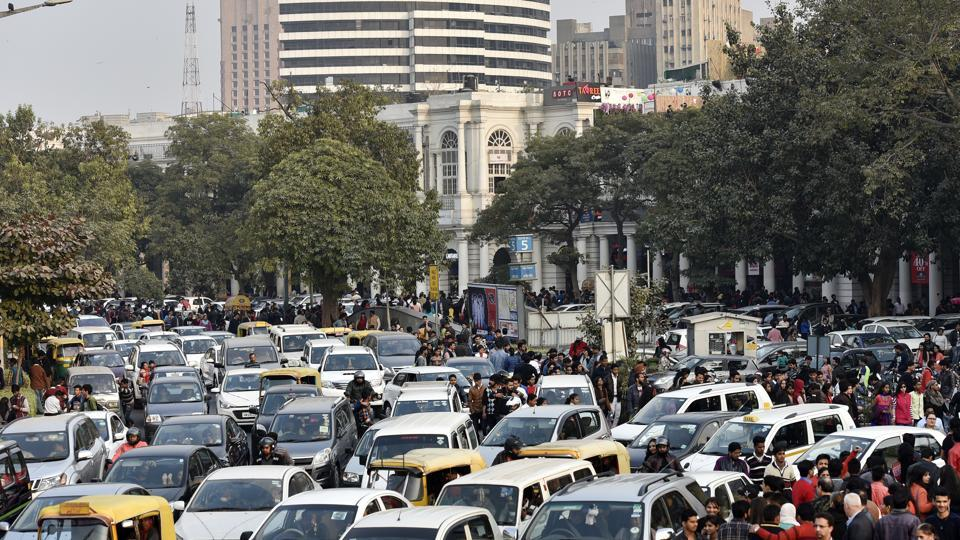 A choc-a-bloc inner circle of the Connaught Place on Sunday, the New Year's Day. The traffic police carried out an intensive drive against traffic rule violators on December 31 night and various parts of CP were made vehicle-free zones.