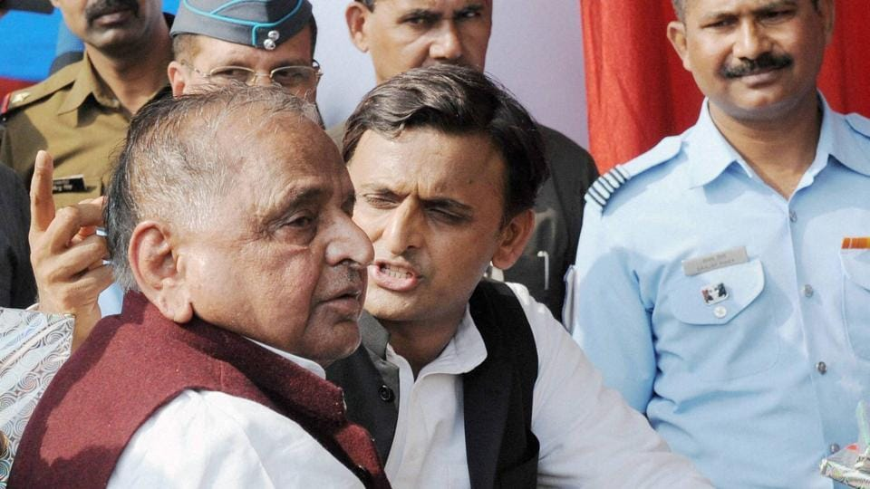 The dramatic event came barely a day after Mulayam revoked Akhilesh's suspension in the party.