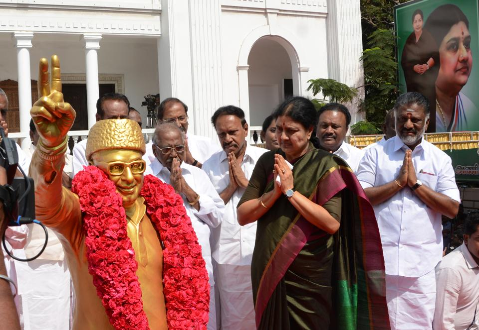 """A day ahead of MGR's birth centenary, Sasikala had told party members to ensure that """"enemies"""" did not exploit the """"crisis"""" created by Jayalalithaa's """"sudden"""" demise."""
