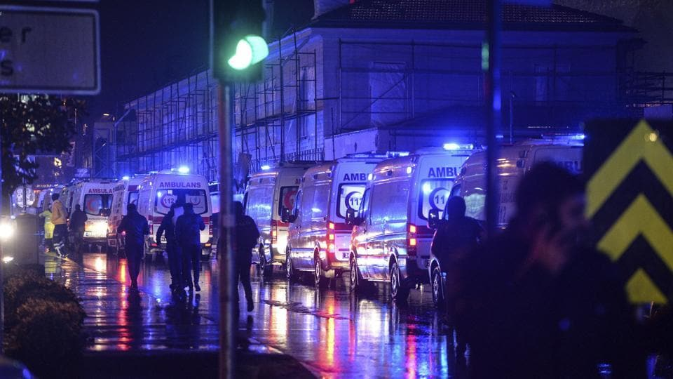 Ambulances are seen near the scene of an attack in Istanbul, on New Year's Day, early Sunday, January 1, 2017. An assailant believed to have been dressed in a Santa Claus costume and armed with a long-barrelled weapon, opened fire at a nightclub in Istanbul's Ortakoy district during New Year's celebrations, killing dozens of people.