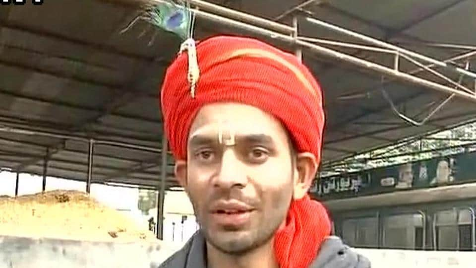 Tej Pratap Yadav dressed up as Lord Krishna.