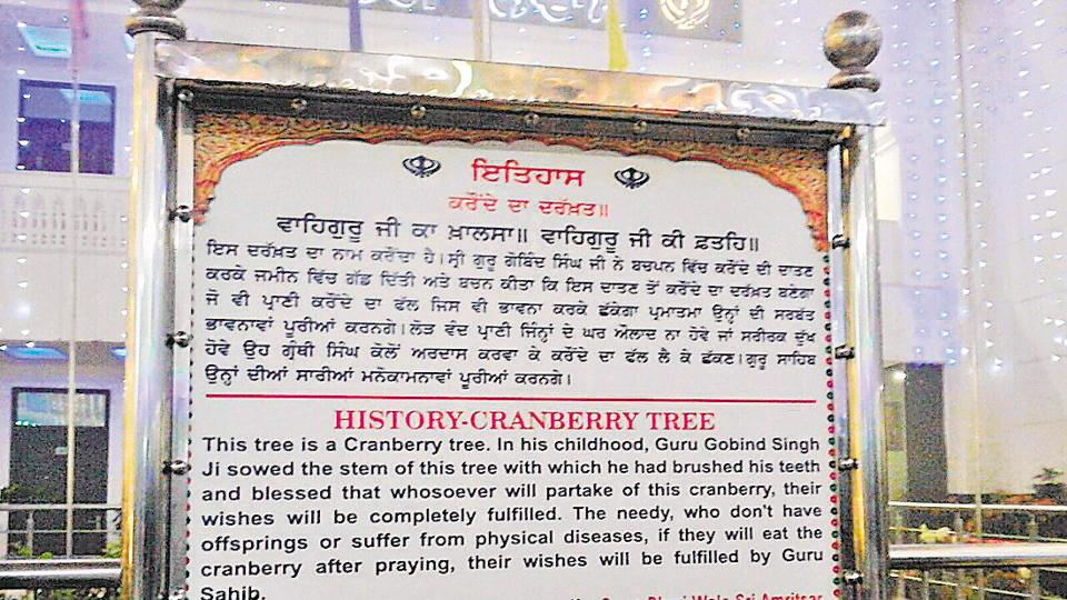 The tree is associated with the tenth Sikh guru, as is revealed by a plaque installed.