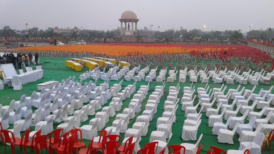 Preparations at the Ramabai Ambedkar grounds in Lucknow ahead of PM Narendra Modi's rally on Monday. The BJP expects around 10 lakh people to attend the event.