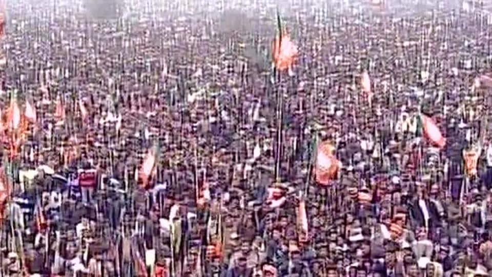 Massive crowd at Rama Bai Ambedkar Maidan in Lucknow for BJP's Parivartan Maha Rally.