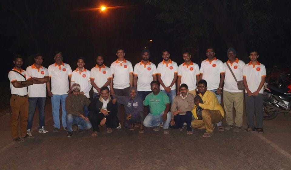 Volunteers from Amchi Vasai outside the fort on New Year's eve.