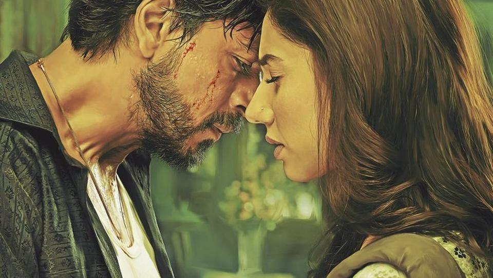 Shah Rukh Khan and Mahira Khan on the new poster of Raees.