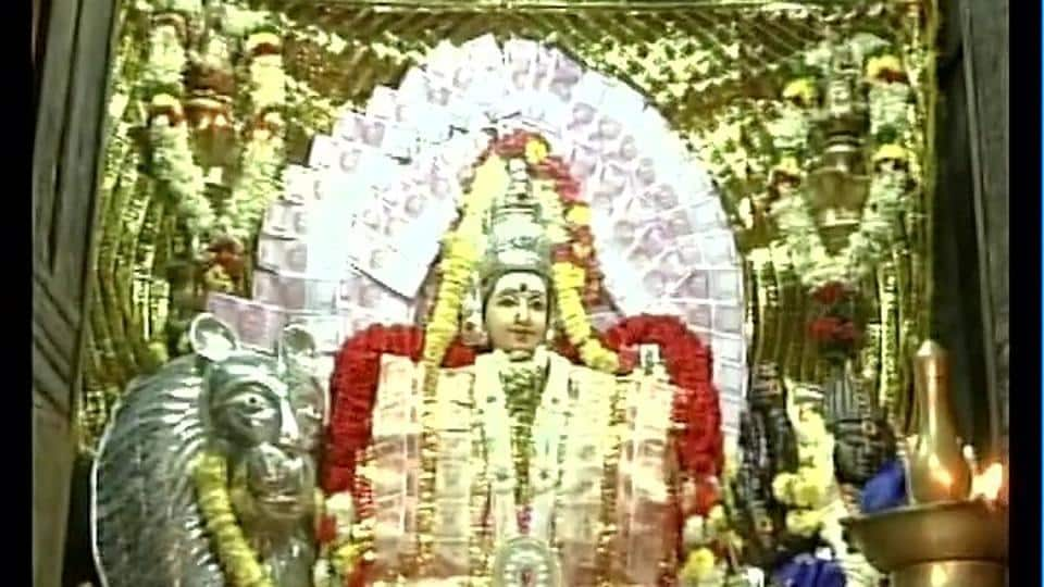Makali Amman Temple in Coimbatore decorated with currency notes  including new Rs 2000 denomination notes.