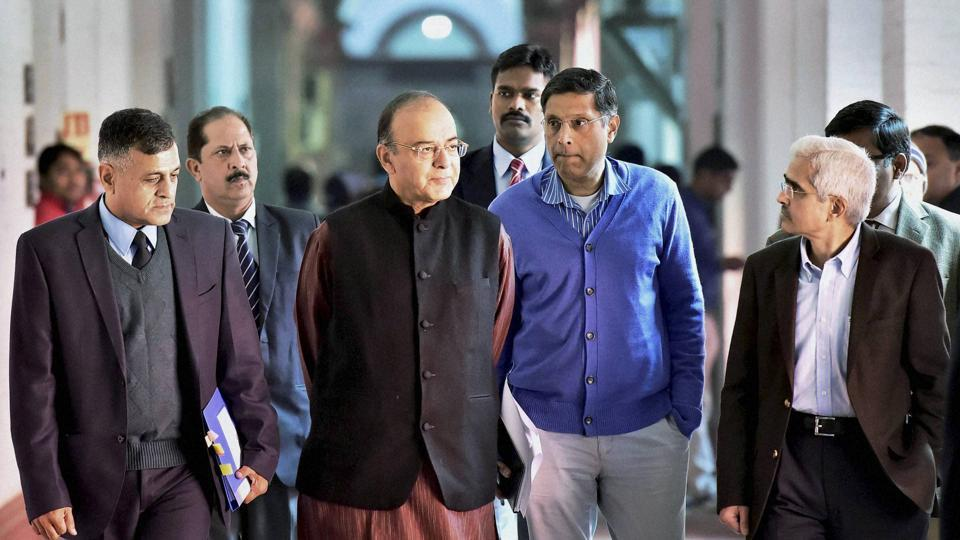 Union Finance Minister Arun Jaitley with Economic Affairs Secretary Shaktikanta Das, Finance Secretary Ashok Lavasa and others arrive for a pre-budget meeting with bankers in New Delhi on  December 20.