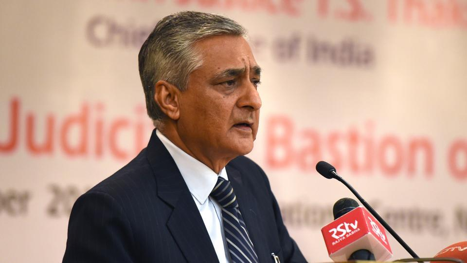 Justice TS Thakur delivers a speech at IIC in New Delhi