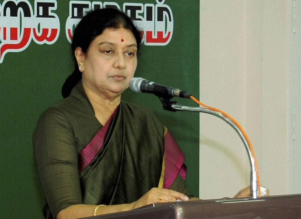 Newly appointed AIADMK party's general secretary and close aide of late Jayalalithaa, VK Sasikala addressing after took charge as All India Anna Dravida Munnetra Kazhagam (AIADMK) general secretary in Chennai on Dec 31.