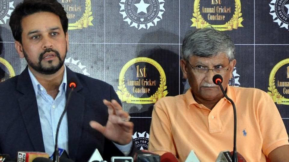 Anurag Thakur (left) and Ajay Shirke were removed as BCCI president and secretary, respectively, by the Supreme Court on Monday. The Supreme Court will appoint an observer for the cricket Board on January 19