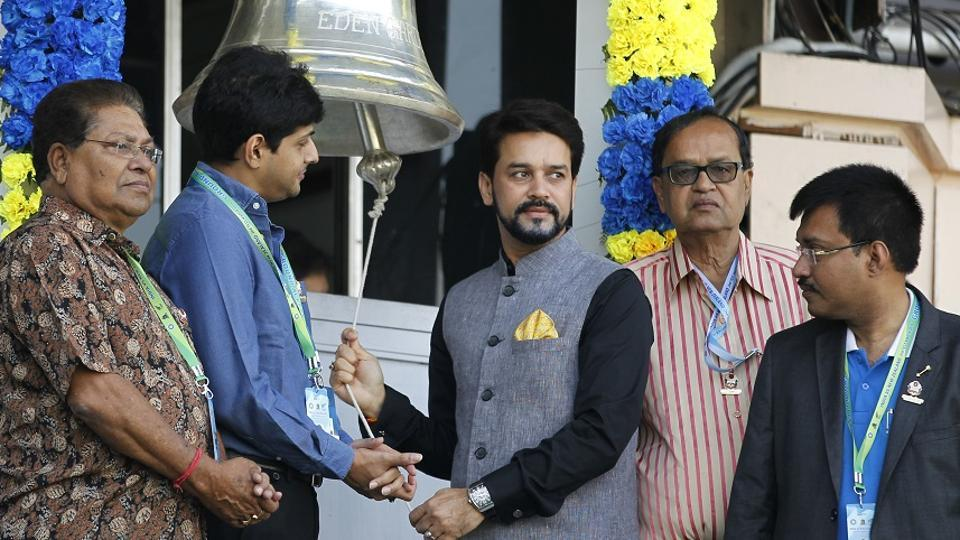 Anurag Thakur ringing the match bell on Day 4 of the second Test between India and New Zealand at the Eden Gardens in Kolkata on October 3, 2016. Thakur has been removed by the Supreme Court for not complying with the Lodha panel recommendations.