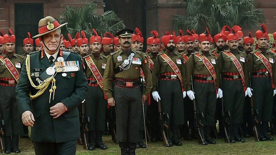New army chief General Bipin Rawat during the guard of honour at South Block in New Delhi on Sunday.