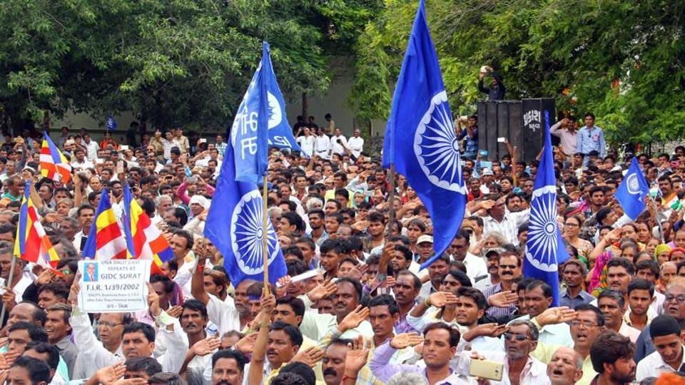 A Dalit rally in Una in Gujarat in this file photo from August 15, 2016. If today Dalits are able to seek a space in the state structure, in power corridors, it is because they are able to organise themselves as a 'votebank' -- that much abused term.