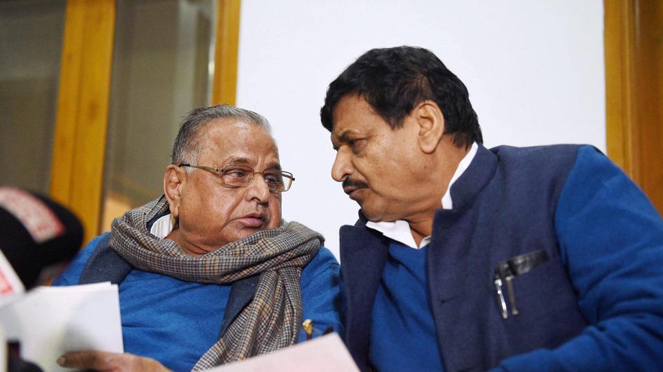Samajwadi Party chief Mulayam Singh Yadav and party's UP president Shivpal Yadav in Lucknow.
