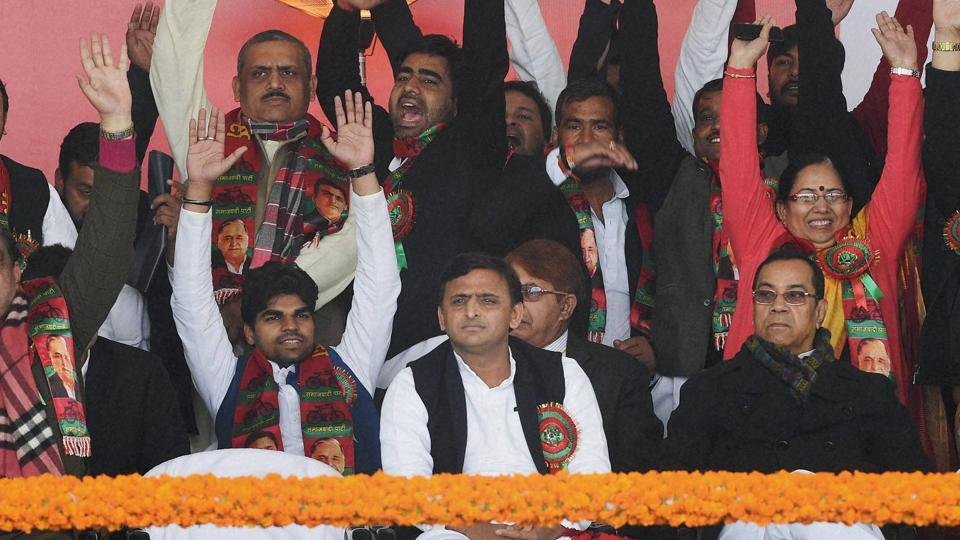 Uttar Pradesh Chief Minister and newly unanimously elected party's national president Akhilesh Yadav with his supporters during Samajwadi party national convention in Lucknow on January 1.