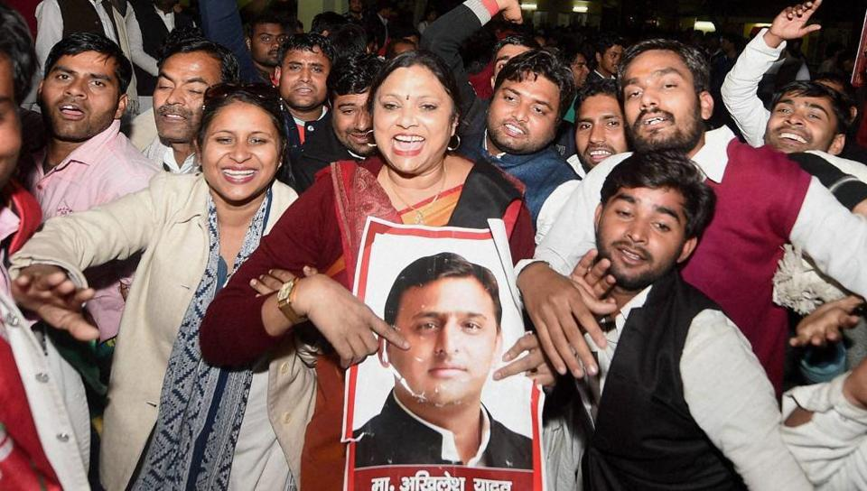 Supporters celebrate the appointment of UP chief minister Akhilesh Yadav as the national president of the Samajwadi Party, in Lucknow on Sunday evening.