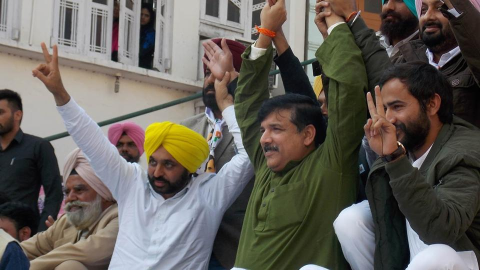 AAP Punjab affairs in-charge Sanjay Singh and party leader Bhagwant Mann dared Punjab Congress chief to contest from Jalalabad against Mann.