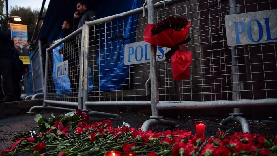 Flowers have been laid in front of the Reina night on January 1, 2017 in Istanbul, after a gunman killed 39 people, including many foreigners, in a rampage at an upmarket nightclub in Istanbul where revellers were celebrating the New Year.