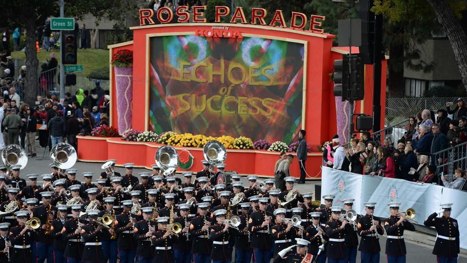 The United States Marine Corps West Coast Composite Band marches in the Rose Parade.  (AFP Photo)