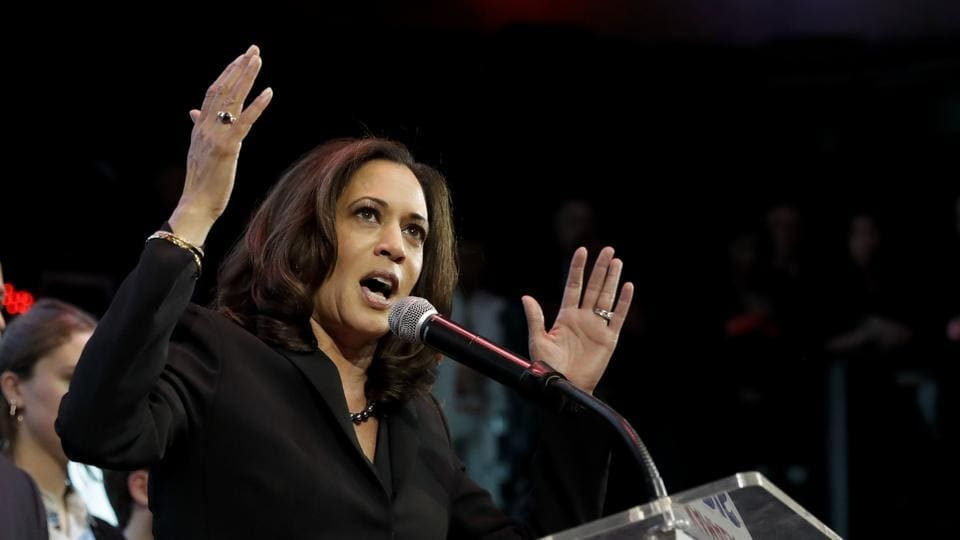 File photo of Democratic Senate member, Kamala Harris, at an election rally in Los Angeles in November 2016.