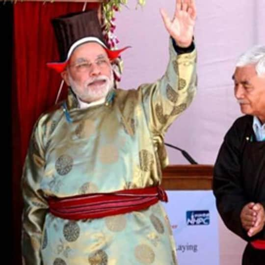 PMNarendra Modi wearing a traditional Ladakhi dress at a function in Leh, in 2014.