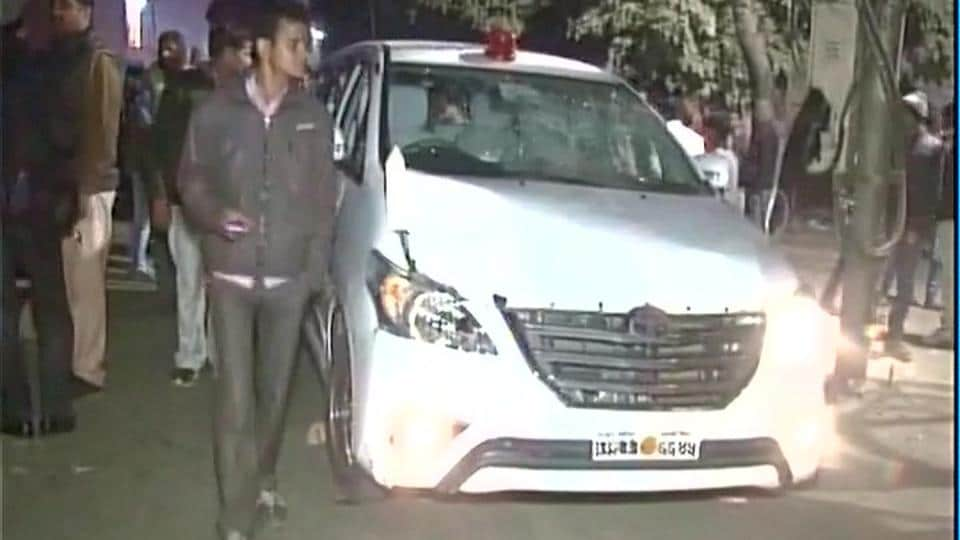 Car belonging to UP state minister Omkar Singh Yadav hit a handcart in Hardoi killing one on Monday night.