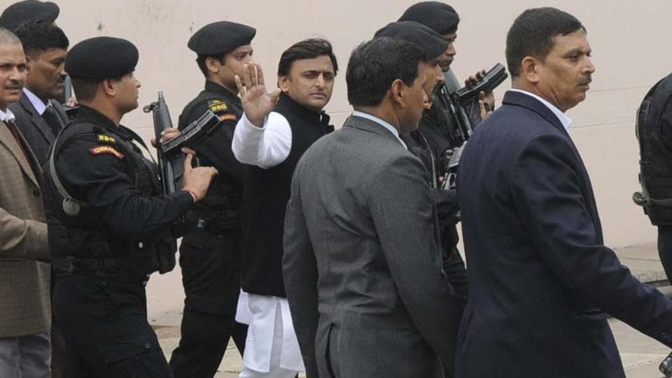 UPchief minister Akhilesh Yadav arrives for a meeting at his Lucknow residence on Monday.